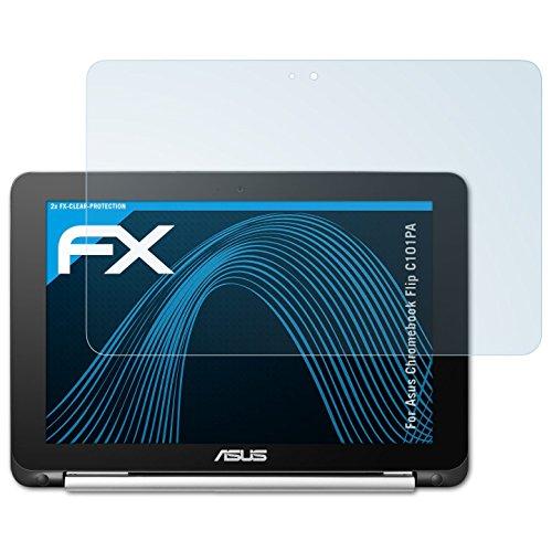 atFolix Schutzfolie kompatibel mit Asus Chromebook Flip C101PA Folie, ultraklare FX Bildschirmschutzfolie (2X)