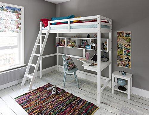 Noa and Nani Hochbett High sleeeper mit Schreibtisch in weiß, New York 2'6Loft Bett -
