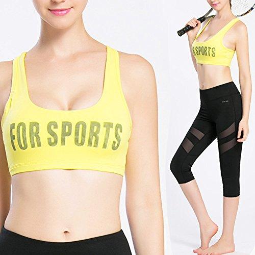iBaste Brassière de Yoga Dos Nageur Soutien-gorge de Sport Sans Armatures Femme Jaune