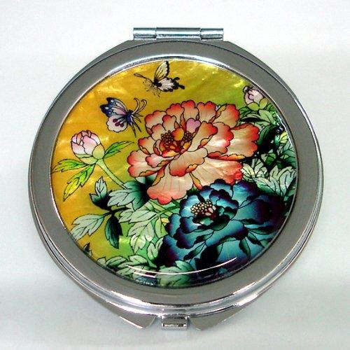 Miroir de poche rond miroir de poche Maquillage Métal Miroir Acier Inoxydable