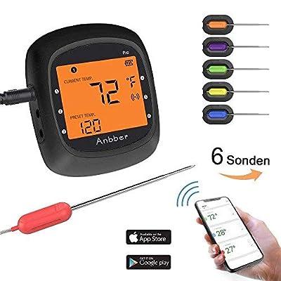 Anbber Grillthermometer Blueooth, Funk Fleischthermometer Digital Wireless BBQ Thermometer für Küche Grill Essen Steak