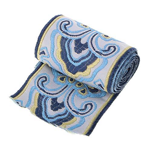 chiwanji Trim Fringe Hand Besticktes Band Sari Border Breite 6cm - Blau -