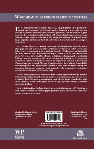Advances in the Dyeing and Finishing of Technical Textiles (Woodhead Publishing Series in Textiles)