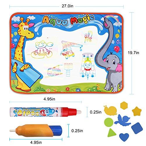 DUIWOIM Esteras de Agua Doodle niños Agua Dibujo Pintura Alfombra Pizarra Mágica Juguete Educativo Mat Regalo Ideal para Los Ni con 2 Bolígrafos 8 Plantillas de Animales (L,  75*52cm)