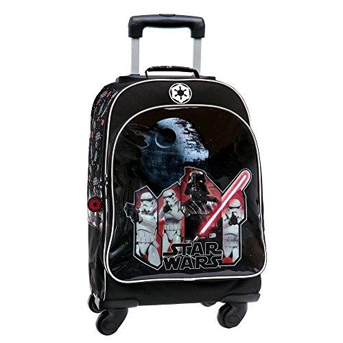 Star Wars Trolley 4 Roues Convertible en Sac à Dos pour Enfants, 44 cm, Noir