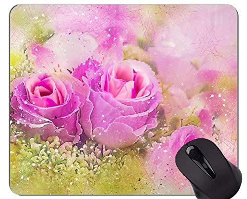 Rechteck-Mausunterlage, Rose-Kunstblume - genähte Ränder