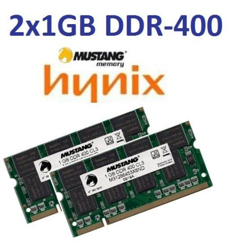 2GB Dual Channel Kit Mustang / Hynix original 2 x 1 GB 200 pin DDR-400 (PC-3200) 64Mx8x16 double side für DDR1 Notebooks -
