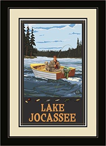 Northwest Art Mall fibf Lake jocassee South Carolina Fisherman in Boot Forest gerahmtes Wandbild Art von Künstler Paul A. lanquist, 40,6x 55,9cm