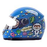 JIE KE Kinder Helm Winter Warm Boy Baby Kind Elektrischer Motorradhelm Weiblichen Winter Voller Helm (Farbe : Blau)