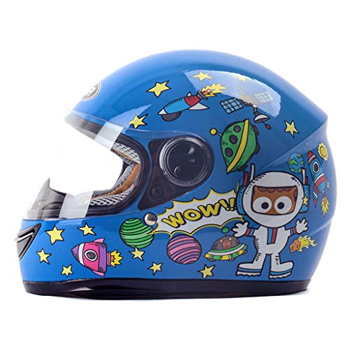 ZDD Kinderhelm Winter Windproof Warm Cartoon Junge Mädchen Full Face Helm (Farbe : Blau)