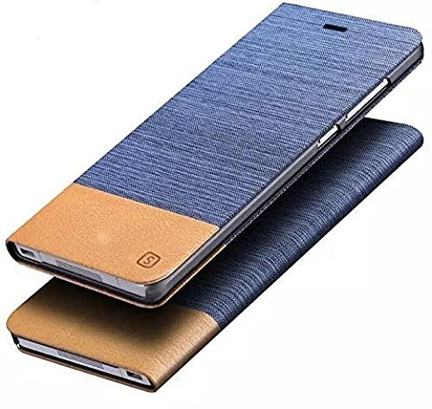 Sony Xperia M2 Retro Wallet Case,Vandot 3in1 Set Blue Brown PU leather Flip Stand Business Case Practical Protective Hybrid Matte Cover + Stylus Screen Touch Pen+ USB Charging and Sync Data Line Charger Cable