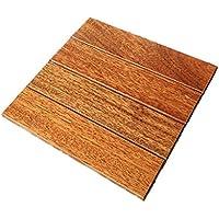 mudiban Suelo de madera maciza natural, suelo anticorrosión impermeable al aire libre, patio jardín suelo de madera maciza a rayas suelo balcón piso de madera antideslizante, tamaño de la cubierta del