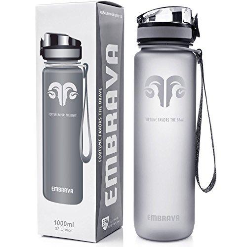 Embrava Beste Sport Trinkflasche - 1000ml - schnell fließend, aufklappbarer auslaufsicherer Deckel mit Einem klick zu öffnen - ungiftig BPA-frei & umweltfreundlicher Copolyester-Tritan Kunststoff