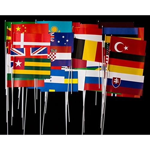 Everflag 50 verschiedene Länder-Papierfähnchen im Set - bunt gemischt (Der Welt Flaggen)