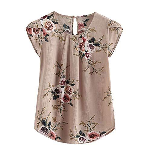 Zegeey Damen T-Shirt Kurzarm Rundhalsausschnitt Basic Floral Plissee Bedruckte Top Cap Sommer Bluse Shirts ()