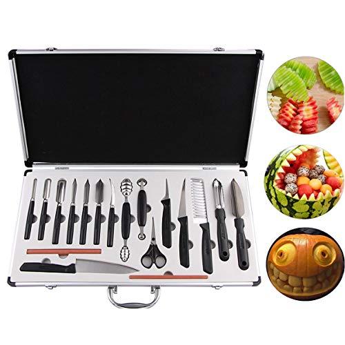 COVVY 18-teiliges Messer-Set für Küche Gemüse Lebensmittel Obst Kuchen Schnitzen Schälen Werkzeug Kit mit tragbarer Tragetasche