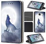Samsung Galaxy J7 2017 J730 Hülle von CoverHeld Premium Flipcover Schutzhülle Flip Case Motiv (1123 Wolf Mond Blau Weiß)