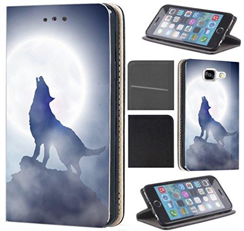 CoverHeld Hülle für Sony Xperia XA Premium Flipcover Schutzhülle aus Kunstleder Flip Case Motiv (1123 Wolf Mond Blau Weiß)