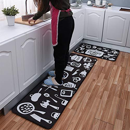 Insun Teppich Küchen Läufer Küchenmatte Waschbar rutschfest Küche Schlafzimmer Badezimmer Fußmatte Anti Ermüdungsmatte Kochkunst schwarz 40x60cm