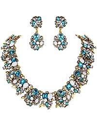 5fbaa0fab92f Clearine Mujer Tribal Étnico Cristal Forma-Mixta Racimo Brillante Collar  Colgante Pendientes Conjunto