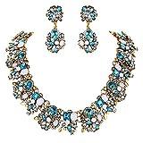 Clearine Mujer Tribal Étnico Cristal Forma-Mixta Racimo Brillante Collar Colgante Pendientes Conjunto Color Aguamarina Retro-Oro-Tono
