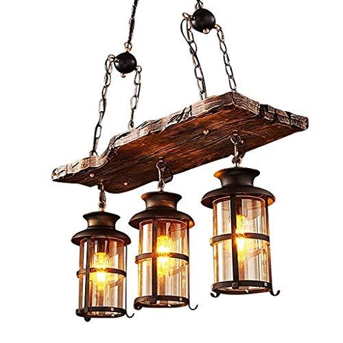 Holz-kronleuchter (Vintage Kronleuchter Vintange Deckenlampe 3 Lichter,JOJOM Holz Kronleuchter Lampe Loft Licht Retro Licht E27 Glaslampenschirm Balkon Schlafzimmer D62 * H100CM(Ohne Glühbirne))