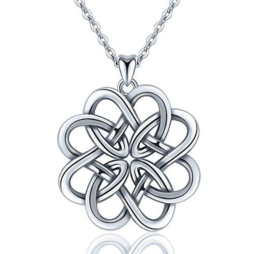AEONSLOVE 925 Sterling Silber Keltischer Knoten Halskette für Frauen, Irische Unendlichkeit Endlose Liebe Knoten Anhänger Halskette, Schmuck Geschenke für Frau Freundin (Irische Mädchen)