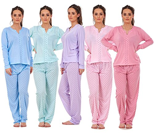Bay eCom UK Ladies Pyjama Set V Neck Floral Printed Long Sleeve Quality Cotton Nightwear PJS
