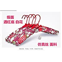 Set of 10 Scented Luxury Padded Satin Coat Hangers Clothes Dress Bridal Blue Red Black Floral Or Gold Cream (Red Floral)