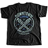 Flamentina A002-046 Downtown Plumbing Herren T-Shirt Daily Service Plumbers Protect Health of Nation Wrench Maintenance(X-Large,Black)