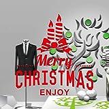 jiuyaomai Noël série Sika cerf Salon Chambre fenêtre Sticker mural58x61cm