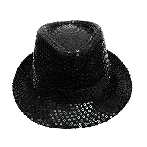 LHWY Pailletten hat Hut Dance Stage Show Performances (Black) (Schwarz Pailletten Hut)