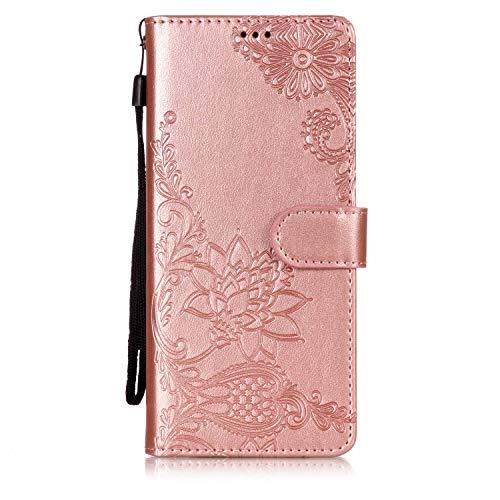 Shinyzone Étui Portefeuille Coque Samsung Galaxy Note 8,Relief Motif de Mandala au Henné Séries,Stand et Fermeture Magnétique Housse en Cuir avec Porte-Carte-Or Rose