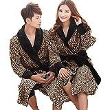 TINA Polka DOT Flanella Coppie Accappatoio Kimono Abbigliamento da Notte Accappatoio da Bagno Donna Uomo Vestaglia con Cintura Camicie Lunghe per Gli Amanti, XL, Nero