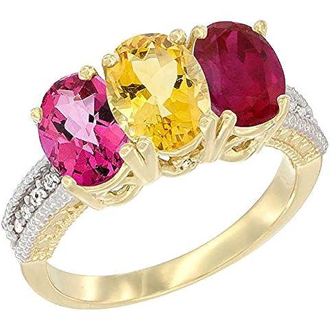 14kt oro giallo, Citrino, Topazio Rosa Naturale e Enhanced Rubino Anello 3-Stone 7x 5mm ovale, accento diamante, misura O