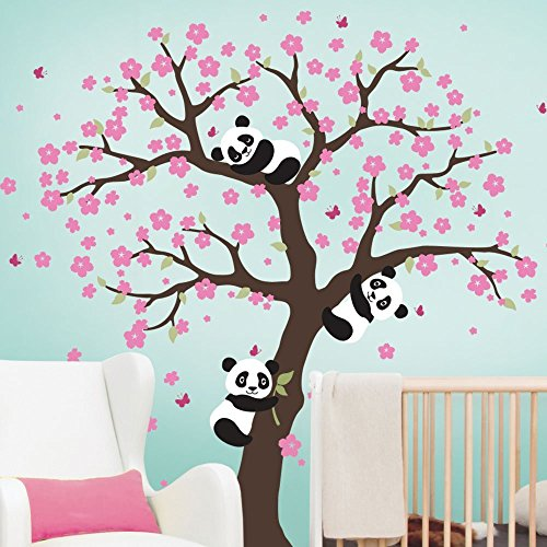 sinesshop-panda-and-cherry-blossom-tree-wall-decal-removable-vinyl-window-room-wall-stickers-animal-