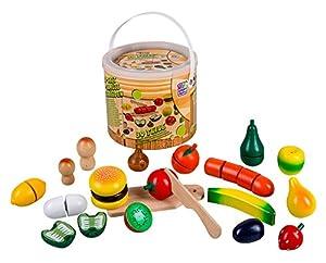 Happy People 45043 - Frutas y Verduras de Madera en baldes, Juguetes de Cocina