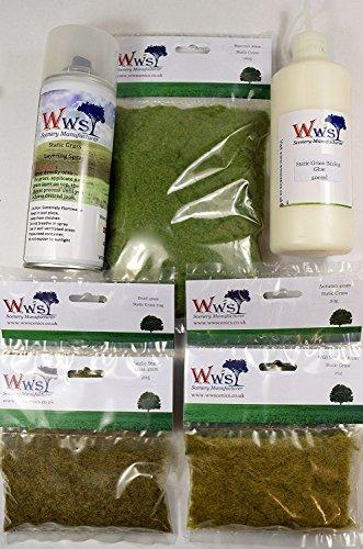 WWS Embankment Grass Kit w/ Layering Spray & Basing Glue Model Railway...