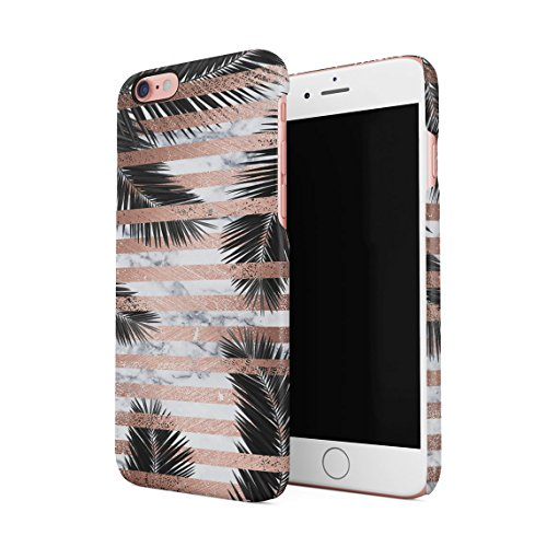Palm Leaves Under White Marble & Rose Gold Stripes Dünne Rückschale aus Hartplastik für iPhone 6 & iPhone 6s Handy Hülle Schutzhülle Slim Fit Case cover (Palm Leaf White)
