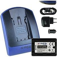 Batteria + Caricabatteria (USB/Auto/Corrente) per VW-VBT380 / Panasonic HC- V210, V230, V250, V270.. / VFX979... / W570, W580... - v. lista - con Infochip 100% decodificato - Twin Cam Auto