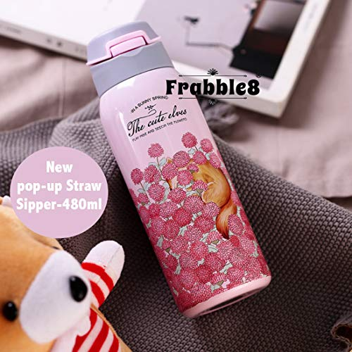 Frabble8 Double Wall 480ml Vacuum Insulated Stainless Steel Flask Water Bottle || Travel Thermos Sipper with Pop up Straw || Hot and Cold for 12 Hours (Pastel Pink)