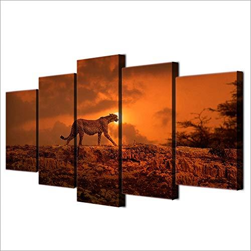 ZHANGWLH Wanddekorationsmalerei mit fünf Platten Leinwand Malerei Wandkunst Poster Wand Modulare Bilder 5 Stücke Tier Wild Leopard Für Wohnzimmer (Platte Tier -)