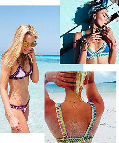 Minetom Badeanzug Badekleid Sommer Damen Bikini Set Zweiteilig Bademantel Bademode Swimsuit Swimwear Sexy Low Taille Crochet Getrimmten Blau