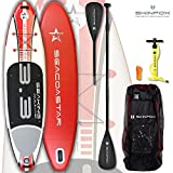 SEACOASTAR SEAKING aufblasbares Double-Layer Inflatable SUP Paddelboard Stand Up 2 lagig sehr kippstabil (325x80x15/Tragkraft 165 kg) ALU-Set rot (Board,Bag,Pumpe,+ALU SUP-/Kayak Paddle)