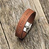 Brazalete personalizada de cuero italiano naranja, grabe su nombre, coordenadas GPS, fecha, lema personal, frase inspiradora, manilla, pulsera