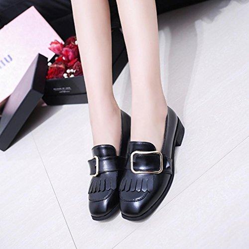 Saingace Frauen-Freizeit-britische Art-Leder-Troddel-Schuh-Müßiggänger-beiläufige Schuhe Schwarz