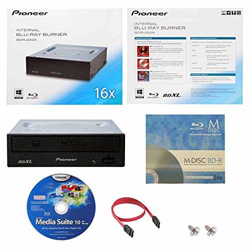 Internal Blu-ray BDXL DVD CD Burner Writer-Laufwerk in Kleinkasten mit FREE 3pk MDisc BD + Cyberlink Media Suite Software + Kabel und Befestigungsschrauben ()