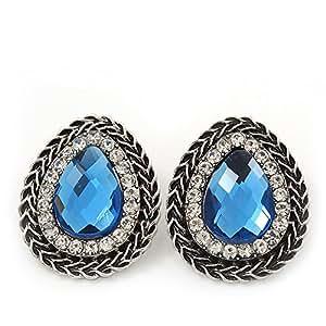 Boucles d'oreille gouttes bijoux bleu ciel argent brûlé - longueur 3cm