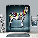 DECMAY Anti-schimmel Duschvorhang Wasserdicht Anti-Bakteriell Duschvorhang Badvorhang für Badezimmer mit 12 Duschvorhangringe 180x180cm Farbe Zebra