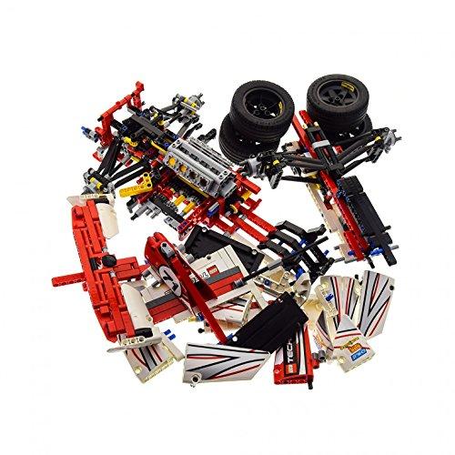 Preisvergleich Produktbild Bausteine gebraucht 1 x Lego Technic Set Modell Race 42000 Grand Prix Racer Sport Renn Wagen Weiss rot Auto Incomplete unvollständig